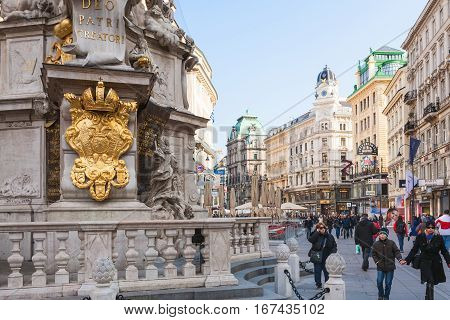 Tourists Near Plague Column On Graben Street