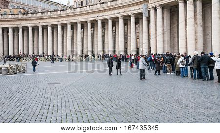 Queue Of Visitors To St Peter Basilica In Vatican
