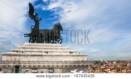 Quadriga On Top Of Altare Della Patria In Rome