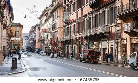 Via Del Corso Street In Rome City In Winter