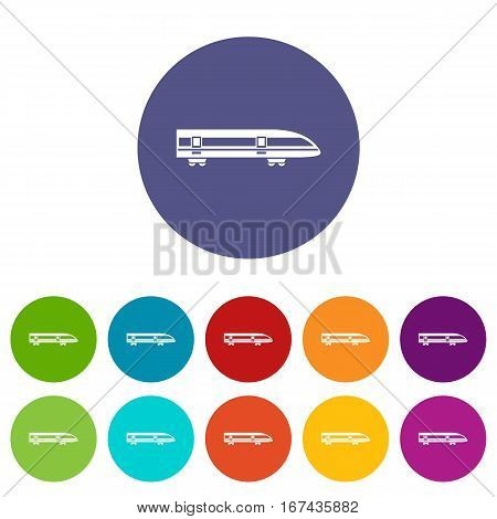 Modern high speed train set icons in different colors isolated on white background