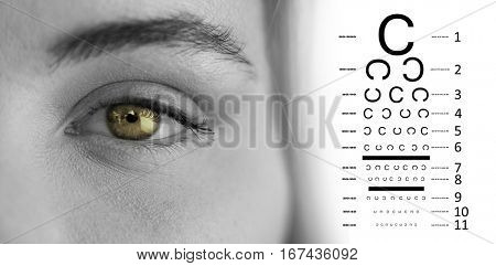 eye test against portrait of woman with gray eye