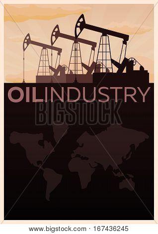 Oil Industry. Tower Oil Exploration Vector Flat Illustration.