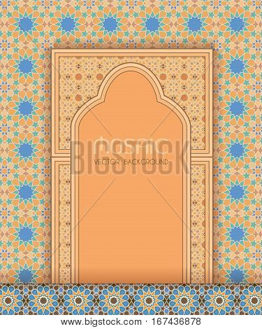 Islamic tradional architectural design, ornate mosaic background