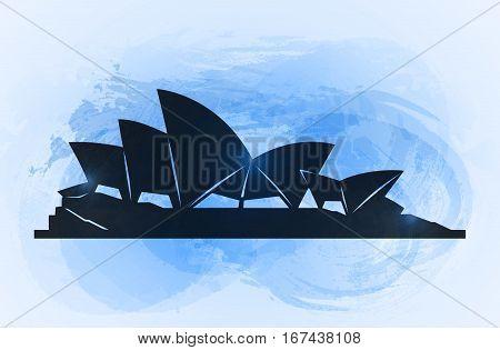 20 january 2016. Sydney opera house background. World famous Australia tourist attraction symbol. Vector illustration.