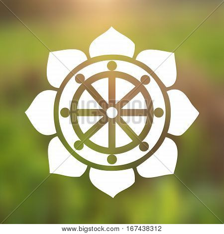 Vector Dharma Wheel in Lotus Flower on a Natural Background