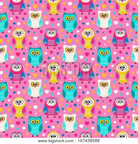Cute owls. Vector seamless pattern with hand drawn flat birds. Colorful owl with white doodle ornament. Pink yellow green beige blue and white colors. On pink background with hearts and dots.