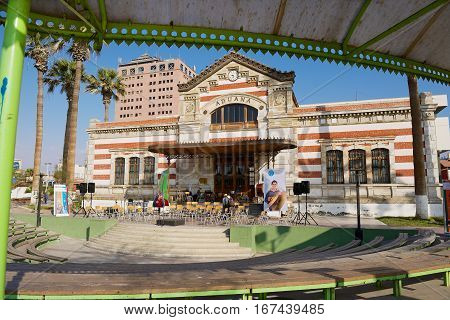 ARICA, CHILE - OCTOBER 20, 2013: Exterior of the old Customs building in Arica, Chile.