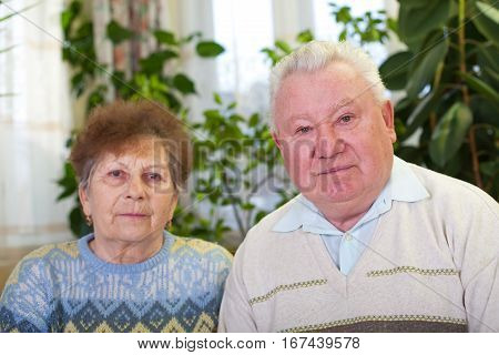 Picture of a cute elderly couple at home