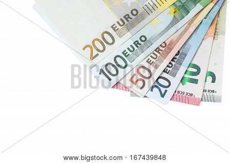 5 10 20 50 100 200 euro bills isolated on white