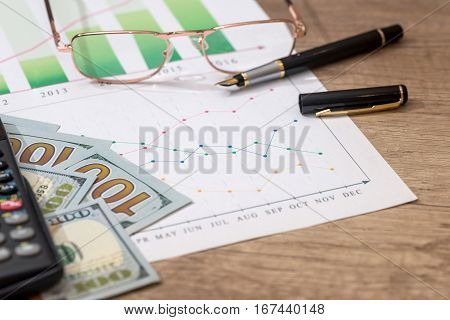 diagram with money pen and calculator on table