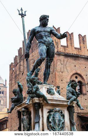 Statue Of Neptune Of Fountain In Bologna