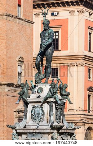 Sculpture On Fouintain In Bologna In Sunny Day