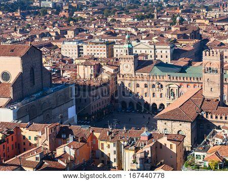 Above View Of Piazza Maggiore In Bologna City