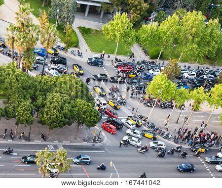 Traffic Jam On Avinguda Diagonal In Barcelona City