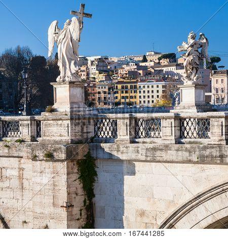Angel Statues On St Angel Bridge In Rome City
