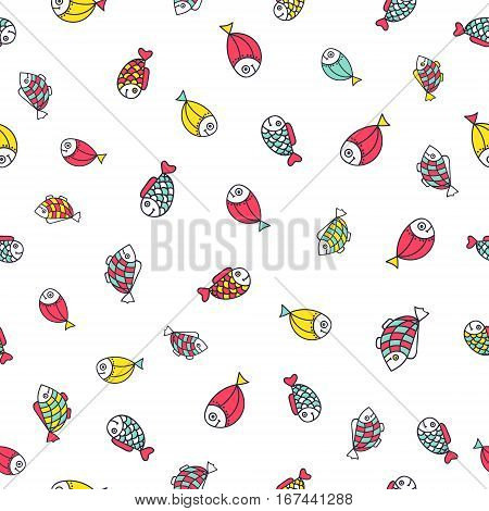 Cute doodle fish. Vector seamless pattern with hand drawn sea dweller. Red yellow blue fishes on white background.