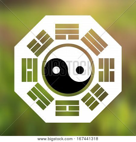 Vector Yin and Yang Symbol and Eight Trigrams on a Natural Background