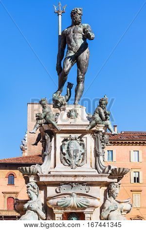 Sculpture Of Neptune In Bologna City In Sunny Day