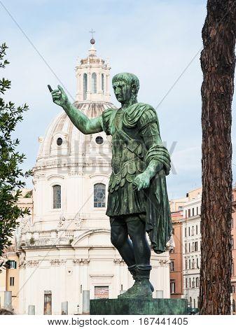 Bronze Statue Of Emperor On Roman Forum