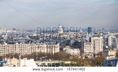 Above View Cityscape With Pantheon In Paris City
