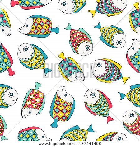 Cute doodle fish. Vector seamless pattern with hand drawn sea dweller. Color fish with doodle ornament. On white background.
