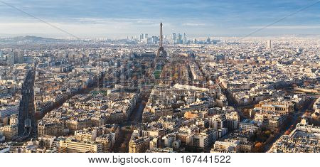 Above View Of Eiffel Tower And Streets In Paris
