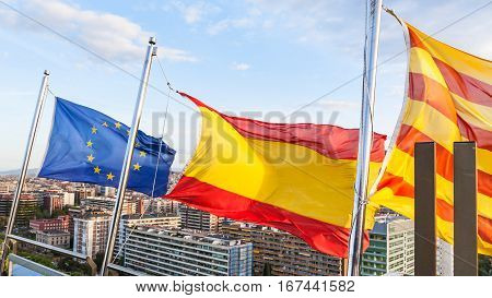 Catalan, Spanish, European Flags Over Barcelona