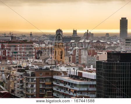 Yellow Dawning Over Barcelona In Spring