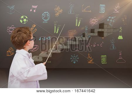 Cute pupil in lab coat against composite image of steps moving up
