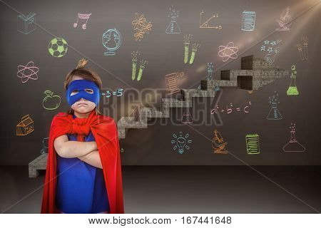 Masked girl pretending to be superhero against composite image of steps moving up