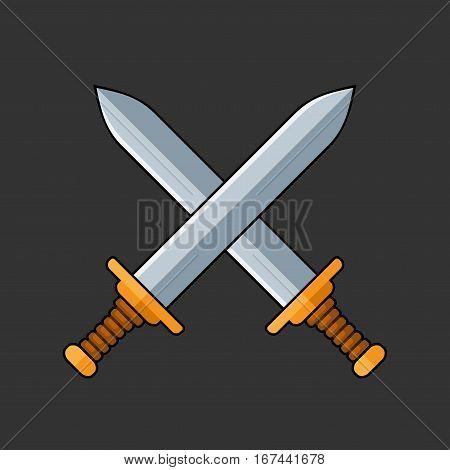 Two Crossed Swords Icon on Dark Background. Vector illustration