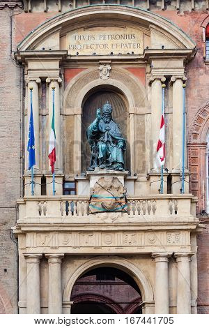 Statue On Facade Of Palazzo In Bologna City