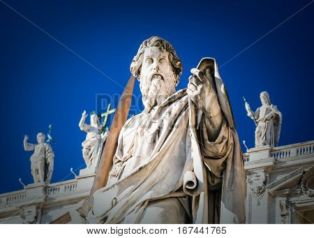 Statue Of Apostle Paul Near St Peter Basilica