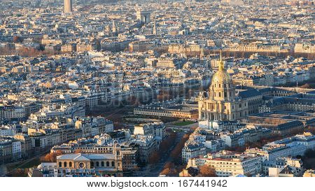 Above View Les Invalides Palace And Paris City