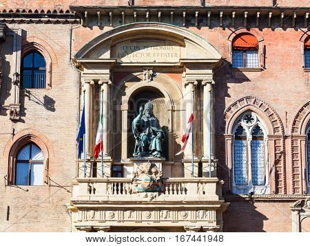Sculpture On Facade Of Palazzo Comunale In Bologna