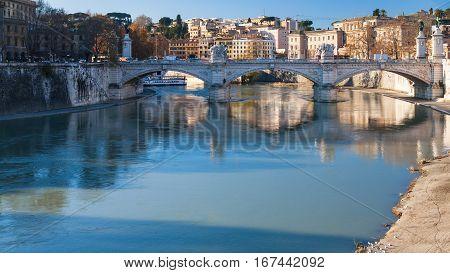 View Of Vittorio Emanuele Ii Bridge On Tiber