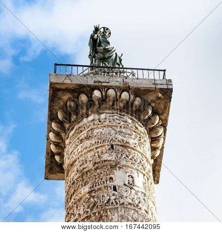 Top Of Column Of Marcus Aurelius In Rome City