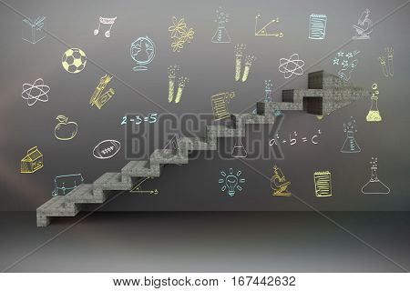 Composite image of steps moving up against school subjects doodles