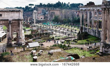 Forum Of Caesar On Roman Forums In Rome In Winter