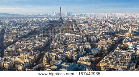 Eiffel Tower And Paris City In Winter