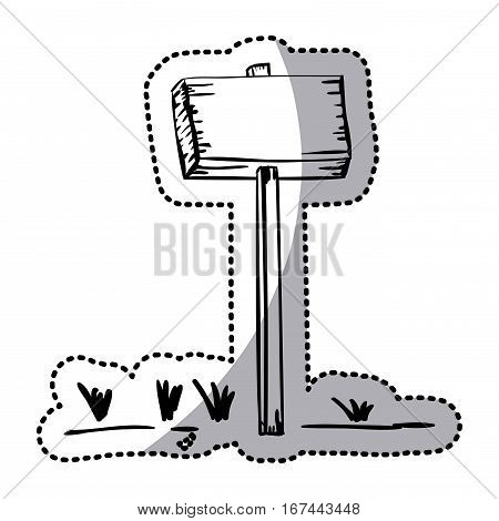 sticker silhouette wooden placard with stake and grass vector illustration