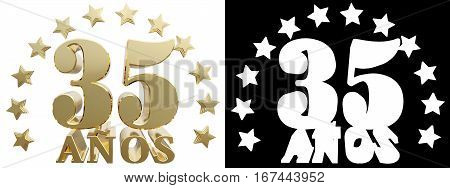 Golden digit thirty five and the word of the year decorated with stars. Translated from the Spanish. 3D illustration