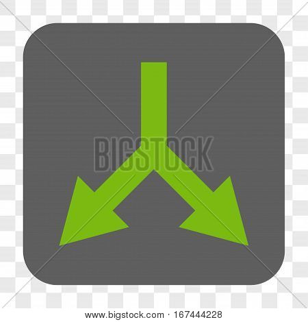 Bifurcation Arrow Down interface toolbar button. Vector icon style is a flat symbol inside a rounded square button light green and gray colors chess transparent background.