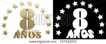 Golden digit eight and the word of the year decorated with stars. Translated from the Spanish. 3D illustration