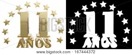 Golden digit eleven and the word of the year decorated with stars. Translated from the Spanish. 3D illustration
