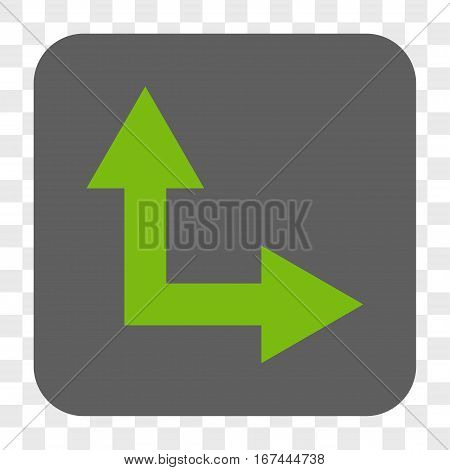 Bifurcation Arrow Right Up interface toolbar button. Vector icon style is a flat symbol inside a rounded square button light green and gray colors chess transparent background.