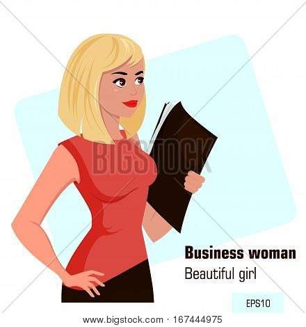Young cartoon businesswoman in office dress holding document case. Beautiful blond girl preparing for meeting. Isometric business woman with 3D effect for infographic design element. Vector