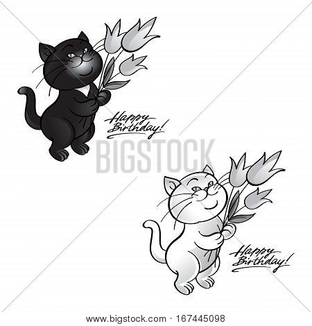 Happy birthday - cats standing with flowers in paws