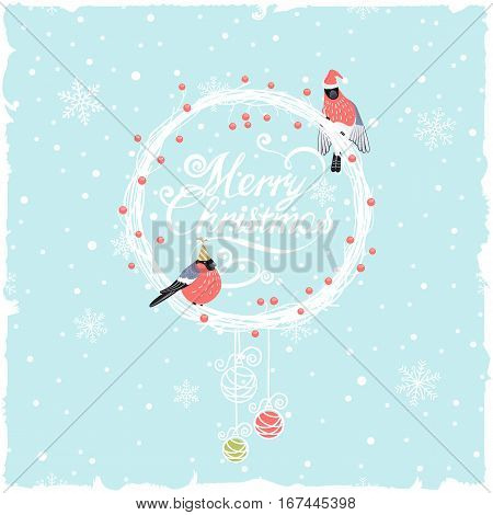 christmas background with wreath and funny bullfinches